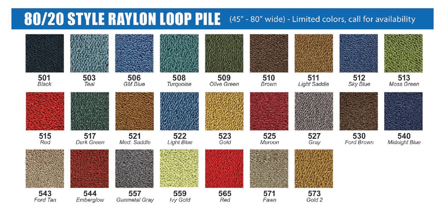 Molded Carpet For 1953 1956 Ford Truck Your Choice Of Color 1955 F100 Colors Click Here Chart Choose And Style From The Drop Down Boxes Above