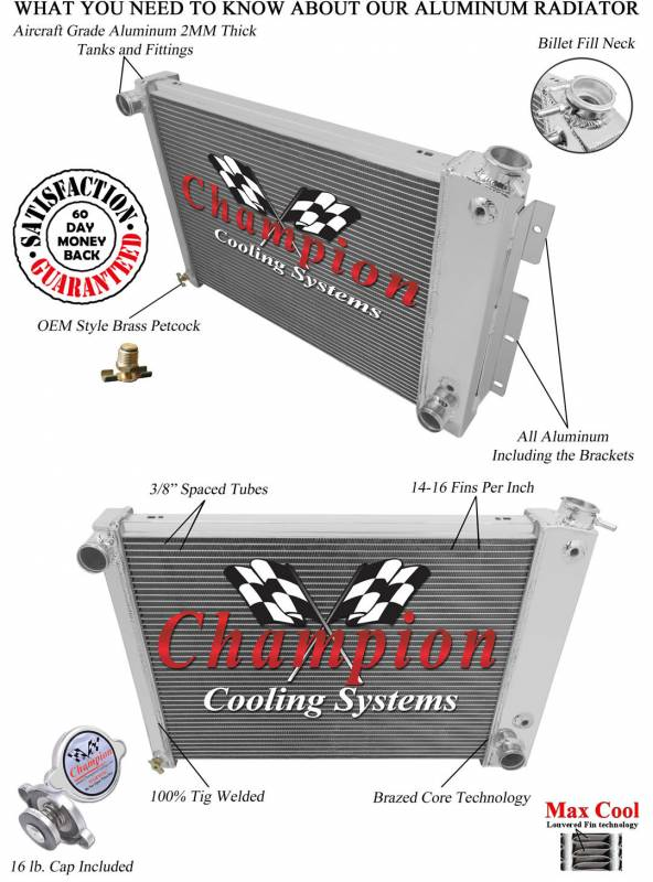 Champion 3 Row Aluminum Radiator For 1965 1987 Buick