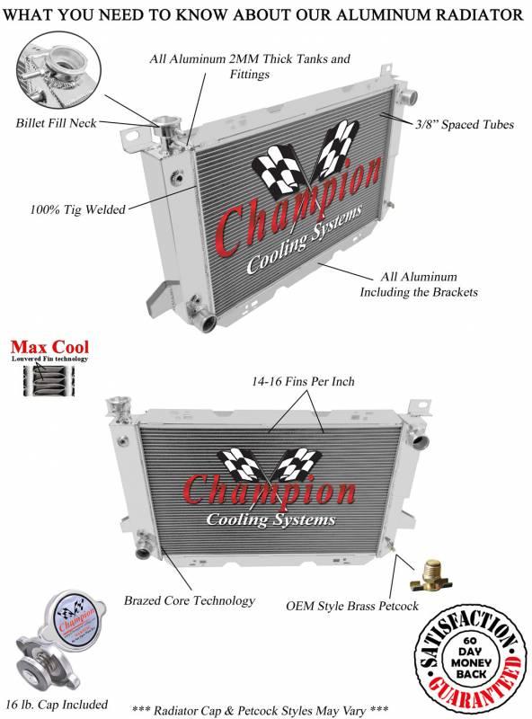 1985 1986 1987 1988 1989 1990 1991 1992-97 Ford F-250 3 Row Champion Radiator
