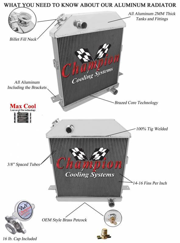 1939-1941 Mercury w//Ford configuration Aluminum 3 Row Champion Radiator