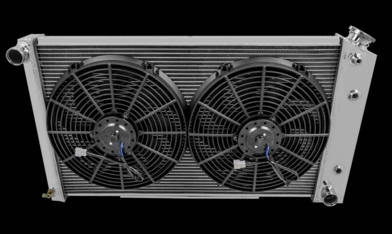 "3 ROW ALUMINUM RADIATOR SHROUD 14/"" FANS PONTIAC TEMPEST BUICK WILDCAT 28/"" CORE"