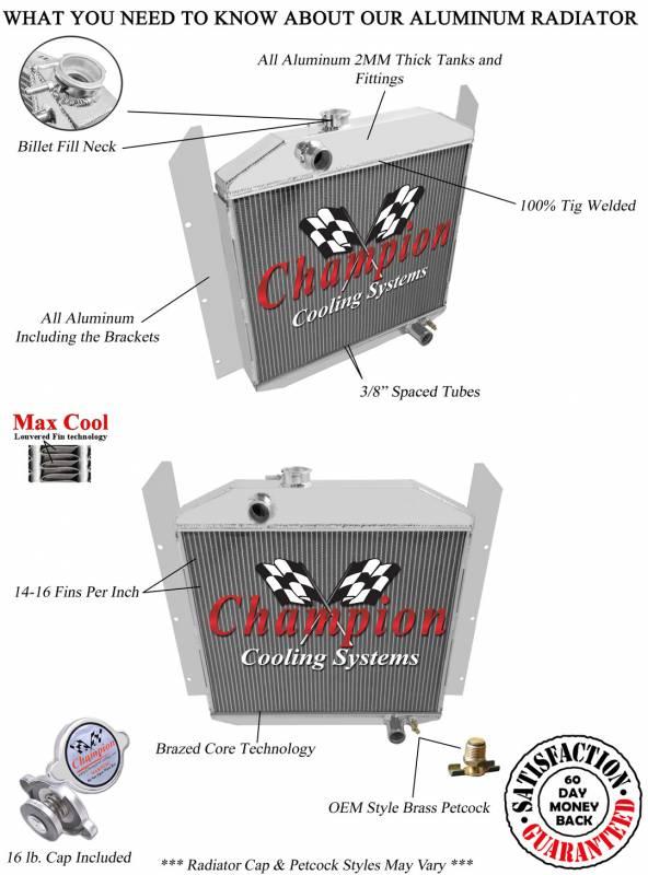 Champion Three Row Aluminum Radiator For 1949 1952 Studebaker