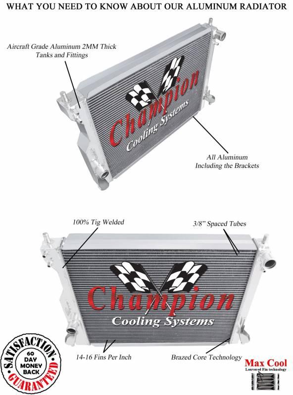 Champion 3 Row Aluminum Radiator For 2005 2014 Mustang V8