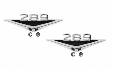 Scott Drake - 1965 - 1966 Mustang 289 Fender Emblem - PAIR for Both Sides of Car