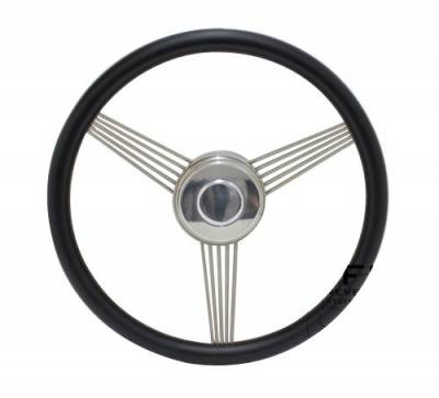 "Forever Sharp Steering Wheels - 14"" Black Powder Coated Stainless Steel Banjo Steering Wheel"