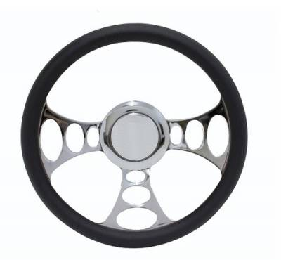 "Forever Sharp Steering Wheels - 14"" Boss Style Billet Aluminum Hot Rod Steering Wheel - Black Leather Half Wrap"
