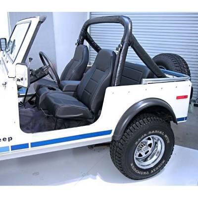 Rugged Ridge - High-Back Front Seat, Non-Recline, Black Denim, 76-02 Jeep CJ & Wrangler
