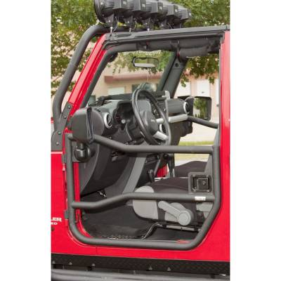 Rugged Ridge - Pair of Black Tube Half Doors for 2007 to 2014 Jeep Wrangler JK by Rugged Ridge
