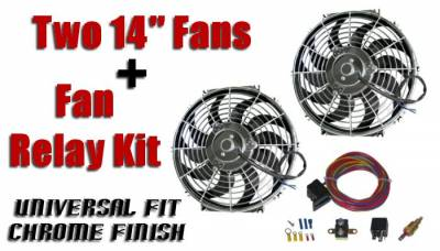 Big Dog Auto - Two Fourteen-Inch Chrome Finish Radiator Cooling Fans & Electric Relay