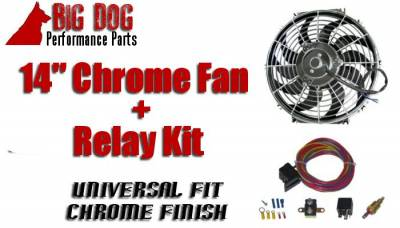 Big Dog Auto - Fourteen-Inch Chrome Finish Radiator Cooling Fan & Electric Relay