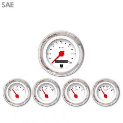 Aurora Instruments - 5 Gauge Set - SAE Pegged White , Red Modern Needles, Chrome Trim Rings ~ Style Kit Installed