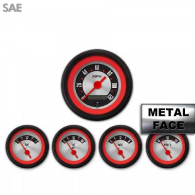Aurora Instruments - Assembled 5 Gauge Set - American Retro Rodder ~ Red Ring Face, Red Vintage Needles, Black Bezels