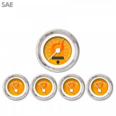 Aurora Instruments - 5 Gauge Set - SAE Ghost Flame Orange , White Modern Needles, Chrome Trim Rings ~ Style Kit Installed