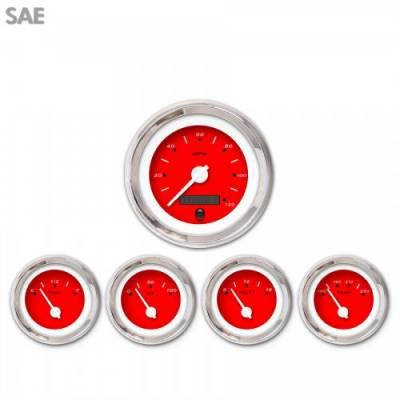 Aurora Instruments - 5 Gauge Set - SAE Pegged Red , White Modern Needles, Chrome Trim Rings ~ Style Kit Installed