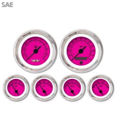 Aurora Instruments - 6 Gauge Set - SAE Rider Pink , Black Vintage Needles, Chrome Trim Rings ~ Style Kit Installed