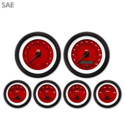 Aurora Instruments - 6 Gauge Set - SAE Tribal Red , Black Modern Needles, Black Trim Rings ~ Style Kit DIY Install