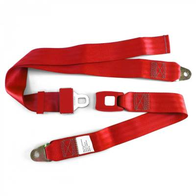 SafeTboy - 2 Point Red Lap Seat Belt, Standard Buckle, Pair