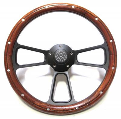 "Forever Sharp Steering Wheels - 14"" Black Muscle w/ Real Mahogany Wood Half-Wrap & Rivets VW Full Kit"