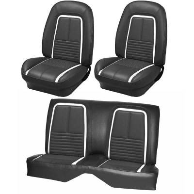 TMI Products - 1967 Camaro Deluxe Front Bucket and Rear Bench Seat Upholstery - Non-Folding Rear