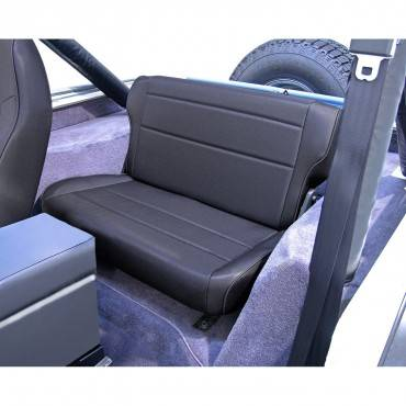 Rugged Ridge - Fold and Tumble Rear Seat, Black Denim; 76-95 Jeep CJ/Wrangler YJ