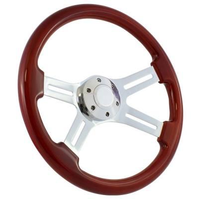 """Forever Sharp - 15"""" Mahogany & Chrome Steering Wheel - Four Spoke - Full Install Kit"""