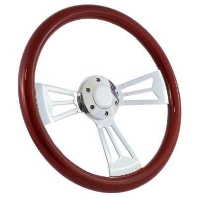 """Forever Sharp - 15"""" Mahogany & Chrome Steering Wheel - Split Spoke III - Full Install Kit"""