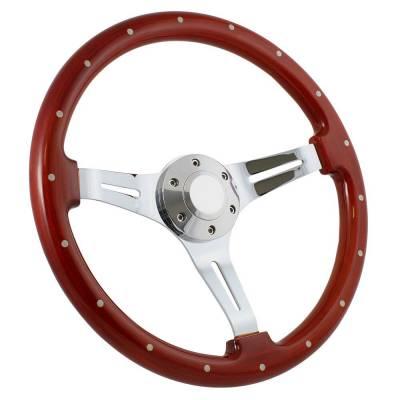 """Forever Sharp - 15"""" Mahogany & Chrome Steering Wheel - Euro Split Spoke - Full Install Kit"""