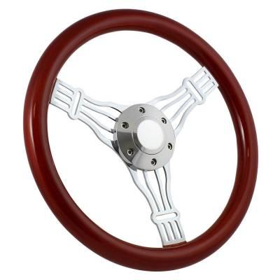 """Forever Sharp - 15"""" Mahogany & Chrome Steering Wheel - Banjo Discord - Full Install Kit"""