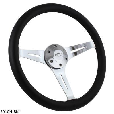 """Forever Sharp Steering Wheels - 15"""" Black Leather & Chrome Steering Wheel - Aviator Style - Full Install Kit"""