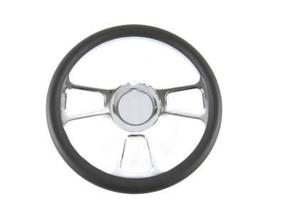 "Big Dog Auto - 14"" Black Leather & Chrome Steering Wheel"