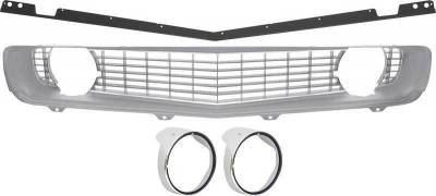 OER - R5028H - 1969 Camaro Restorer's Choice Standard Silver Grill Kit with Headlamp Bezels with Chrome Ring
