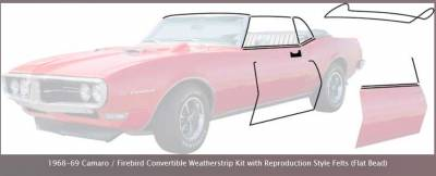 OER - *R5103 - 1968 - 69 Camaro / Firebird Convertible Weatherstrip Kit with Reproduction Windowfelts (flat chrome bead)