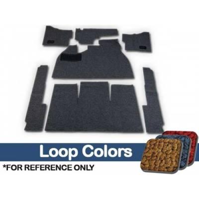 TMI Products - Volkswagen Front Carpet Kit, w/Footrest, w/Heater Grommets, 1958 - 68 Flat Pedal, 80/20 Loop