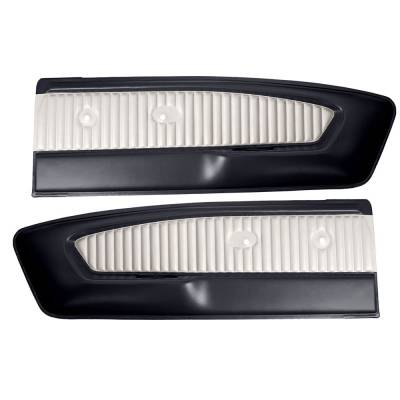 TMI Products - Two-Tone Deluxe Pony Vinyl Door Panel (Pair) 1965 - 1966 Mustang Coupe, Convertible, Fastback