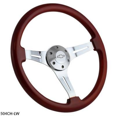 """Forever Sharp - 15"""" Mahogany & Chrome Classic Steering Wheel - Full Install Kit"""