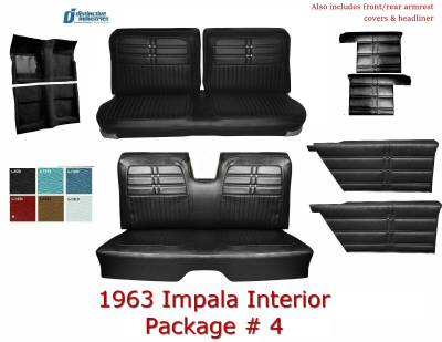 Distinctive Industries - 1963 Impala Convertible Standard Bench Seat Upholstery, Carpet & Panel Package 4