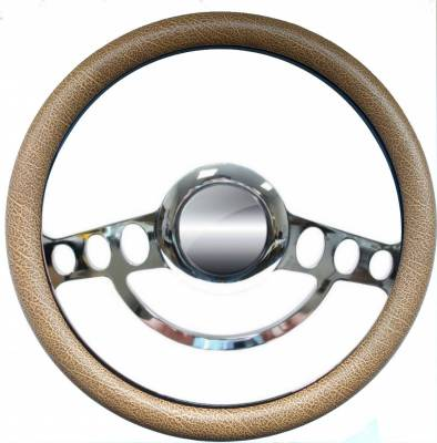"14"" Vinyl Half Wrap Steering Wheels - Vinyl Half Wrap Wheels - Forever Sharp Steering Wheels - 14"" Polished Billet Hot Rod Steering Wheel w/Your Choice of Half-Wrap"
