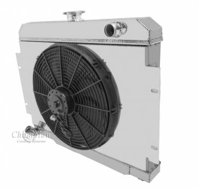 Champion Cooling Systems - Two Row Aluminum Radiator for Jeep CJ6, Includes Fan & Shroud
