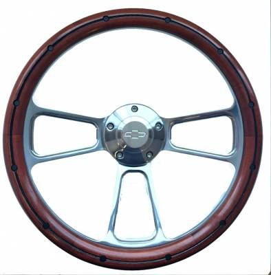 "14"" Wood Steering Wheels - Wood Steering Wheels - Forever Sharp Steering Wheels - 14"" Mahogany & Polished Billet Chevy Steering Wheel Kit Includes Adapter & Chevy Horn Button"