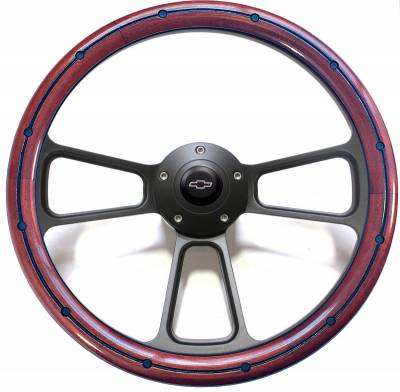 "14"" Wood Steering Wheels - Wood Steering Wheels - Forever Sharp Steering Wheels - 14"" Mahogany w/Burn Ring & Black Rivets Chevy Steering Wheel Kit Includes Adapter & Chevy Horn Button"