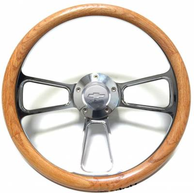 "14"" Wood Steering Wheels - Wood Steering Wheel Kits - Forever Sharp Steering Wheels - 14"" Polished Billet & Oak Chevy Steering Wheel Kit Includes Adapter & Chevy Horn Button"