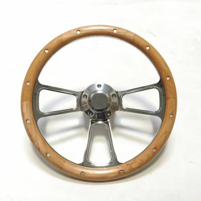 "14"" Wood Steering Wheels - Wood Steering Wheel Kits - Forever Sharp Steering Wheels - 14"" Polished Billet and Alderwood Chevy Steering Wheel Kit Includes Adapter"