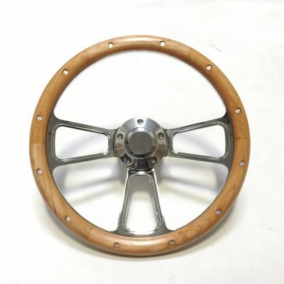 "Interior Accessories - Forever Sharp Steering Wheels - 14"" Polished Billet and Alderwood Steering Wheel"