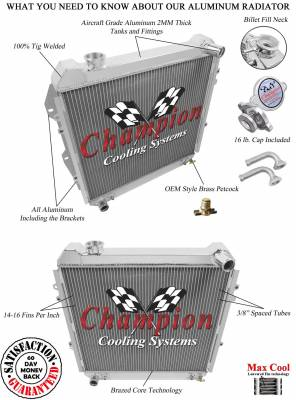 Champion Cooling Systems - 1988 - 1995 Toyota Pick Up, Forerunner Three Row Champion Aluminum Radiator CC50 - Image 3