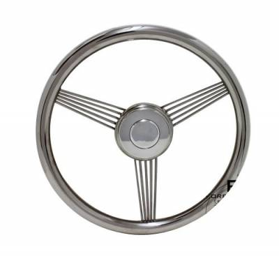 "14"" Wood Steering Wheels - Wood Steering Wheels - Forever Sharp Steering Wheels - 14"" Stainless Steel Banjo Steering Wheel"