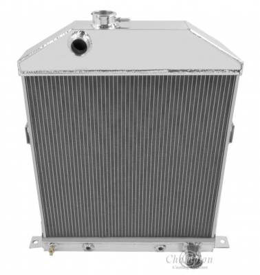 Champion Cooling Systems - Champion Cooling 3 Row Aluminum Radiator 1942 to 1948 Ford and Mercury Cars w/Chevy Config CC46CH