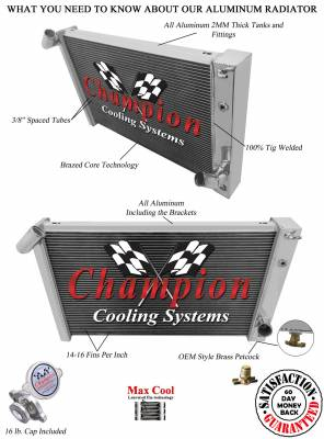 Champion Cooling Systems - Champion Cooling 3 Row Aluminum Radiator for 1969 - 1972 Corvette CC1215 - Image 3