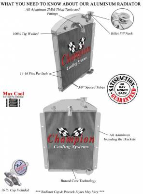 Champion Cooling Systems - 1941-1946 Chevrolet Pickup Truck Champion 3 Row Core All Aluminum Radiator CC4146 - Image 3