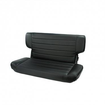 Offroad - Seats & Upholstery - Rugged Ridge - Fold and Tumble Rear Seat, Black Denim, 76-02 Jeep CJ & Wrangler