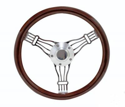 "14"" Wood Steering Wheels - Wood Steering Wheels - Forever Sharp Steering Wheels - 14"" Discord Dark Wood Steering Wheel"
